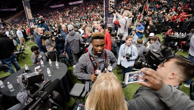 Alabama wide receiver Henry Ruggs III  (11) speaks during the National Championship Media Day in Atlanta, Ga., on Saturday, Jan. 6, 2018.