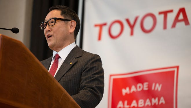 Akio Toyoda, Toyota Motor Corp. president, speaks during a press conference in Montgomery, Ala., where the Japanese automakers Toyota and Mazda announced plans to build a huge $1.6 billion joint-venture plant
