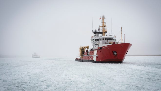 CCGS Samuel Risley works the area south of Harsens Island on Jan. 10, 2018.