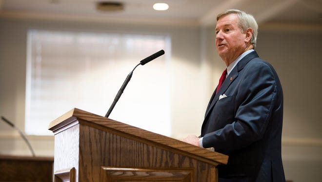 Mayor Todd Strange speaks during a press conference on Thursday, Jan. 11, 2018, in Montgomery, Ala. The press conference was held to discuss on the state of the Montgomery Public School system.