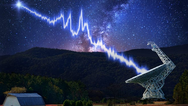 The 100-meter Green Bank Telescope in West Virginia is shown amid a starry night. An artist's conception of a flash from the Fast Radio Burst source FRB 121102 is seen traveling toward the telescope.