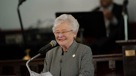 Governor Kay Ivey speaks during the Dexter Avenue King Memorial Baptist Church Martin Luther King Jr. Birthday Service on Monday, Jan. 15, 2018, in Montgomery, Ala.
