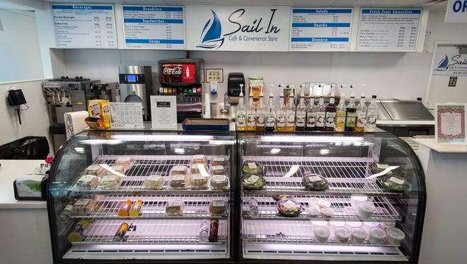 The display cases in the counter at the Sail In Cafe and Convenience Store hold sandwiches, salads, soups and drinks. The store, which is located at 722 McMorran Blvd., also offers snacks and other items.