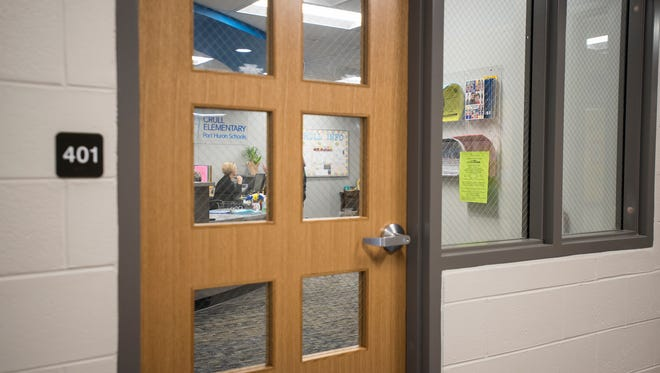 The secured entryway at Crull Elementary School. One of the main features of an update schools are receiving as the result of a 2016 bond is the addition of a camera and buzzer system,t wo layers of locked doors and the relocation of school offices to the front entrance.