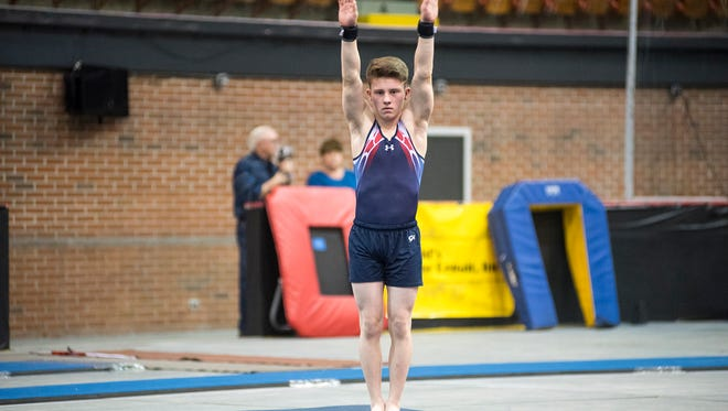 Kade Hansel competes with the All American Flame Gymnastix squad at the Wildfire Challenge Feb. 23 at McMorran Arena.