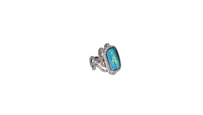 Scorpion and snake ring with a semi-black opal and diamonds, $35,950, Rock Hard Designs.
