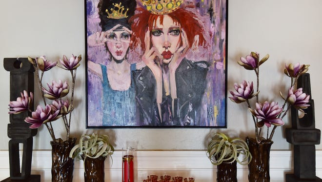 """Two Queens"" original painting 36 inches by 36 inches, framed, $3,240, 1514 Home."