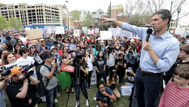 U.S. Rep. and Senate candidate Beto O''Rourke speaks during the March for Our Lives at Cleveland Square in El Paso, Texas.