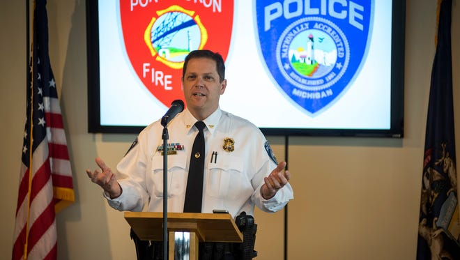 Port Huron Police Chief Jeff Baker speaks after his retirement is announced during a ceremony Wednesday, April 18. After Baker's retirement was announced, city manager James Freed appointed Captain Joseph Platzer as the next police chief.