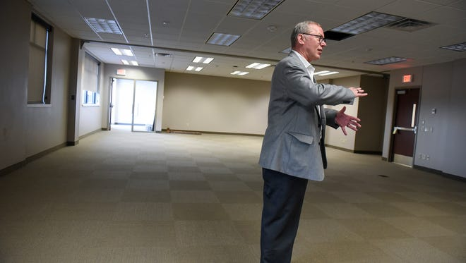 Executive Director of Operations Gary Ganje talks about an office space inside the District 742 office building Tuesday, June 5, in Waite Park.