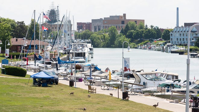 Boats sit in slips at the River Street Marina Wednesday during Boat Week in Port Huron.