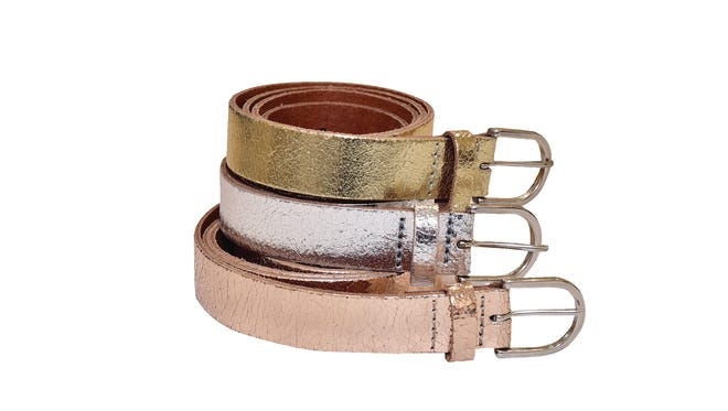 Amsterdam Heritage metallic belts, $45 each, Gray Boutique.