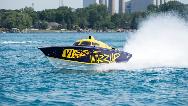 Wazzup does an orientation lap before the start of the Class 3 races Sunday, July 29, 2018 during the St. Clair River Classic Offshore Powerboat races.