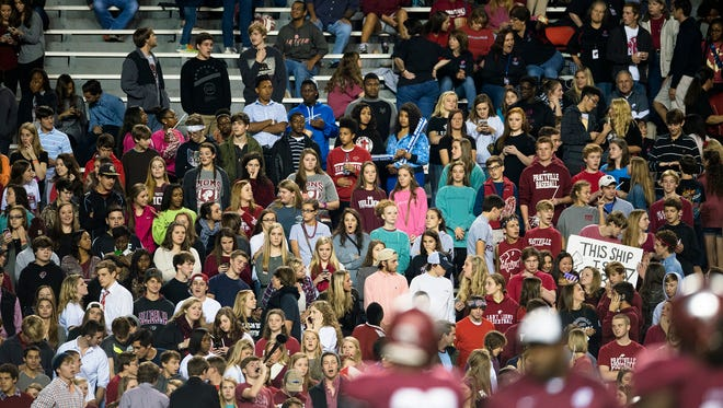 Prattville fans look on during warmups before the Class 7A State Championship against Hoover at Jordan-Hare Stadium on Wednesday, Dec. 3, 2014, in Auburn, Ala.