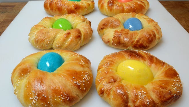 Easter bread can be made in individual sizes or a larger braided ring.