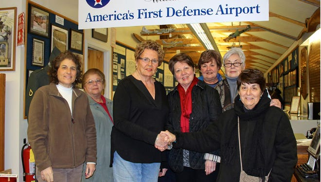 Rosalie Forcinito, president of Zonta Club of Cumberland County; Cindy Hennessy; guest speaker Col. Barbara Ann Logan; Nellie D'Alessandro; Betsy Perugini; Barbara Sheftall; and Carol Iaconelli at the club's annual Amelia Earhart meeting.