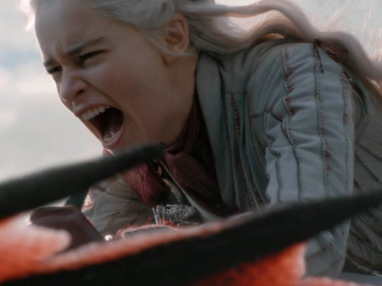 "This image released by HBO shows Emilia Clarke in a scene from ""Game of Thrones,"" that aired Sunday, May 5, 2019. In the third to last episode of HBO's ""Game of Thrones,"" Mother of Dragons Daenerys Targaryen is suffering from a crisis of confidence. She is short on troops and dragons, short on strategies and short on friends. And her claim to the Iron Throne has weakened upon learning that Jon Snow, in fact, shares her royal Targaryen blood. (Helen Sloan/HBO via AP) ORG XMIT: NYJK104"