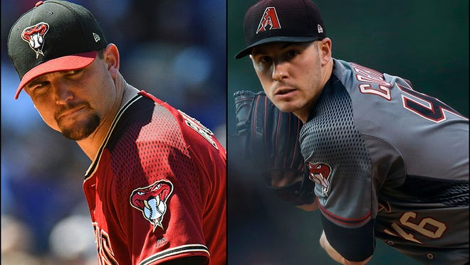 Righty Zack Godley (left) or lefty Patrick Corbin (right)? azcentral sports columnist Greg Moore debates which pitcher belongs in the starting lineup for a theoretical Game 2 of the 2017 National League playoffs.