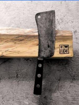 W magnetic wood knife block from Cincinnati Wood Collaborative