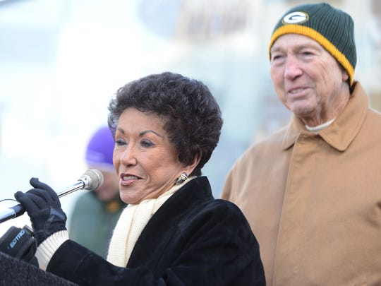 Cherry Starr, wife of Bart Starr, speaks during the dedication of the Bart Starr statue at the Packers Heritage Trail plaza in downtown Green Bay in November 2013.