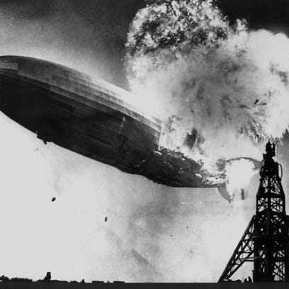 """The Hindenburg Disaster, part of the exhibition """"Zeppelin."""