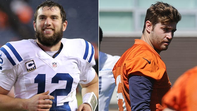 Indianapolis Colts quarterback Andrew Luck and Chicago Bears quarterback Jay Cutler will participate in a joint workout between the teams this week .