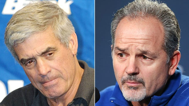 Former Colts coach Jim Mora (left) and current coach Chuck Pagano