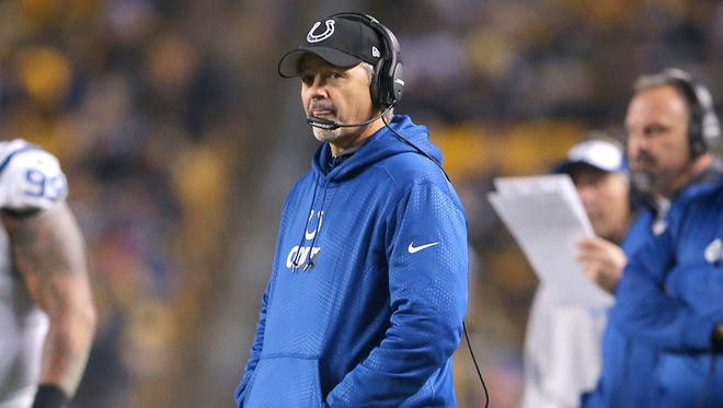 Colts coach Chuck Pagano during the team's 45-10 loss to the Steelers in Pittsburgh on Dec. 6, 2015.