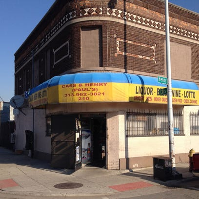 The outside of Paul's Place, a party store at Cass and Henry in Detroit near the future arena site.