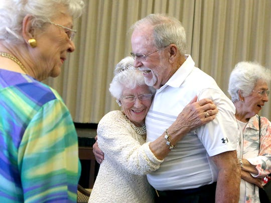 Ruby Hiatt hugs her friend Robbie Foster as she celebrates her 100th birthday on Friday, July 14, 2017, at the First United Methodist Church in Corpus Christi. Hiatt is a dedicated volunteer in the Senior Adult Ministry, Vacation Bible School, Blankets of Love, Mid-week Manna, and any other ministry that she's called upon.