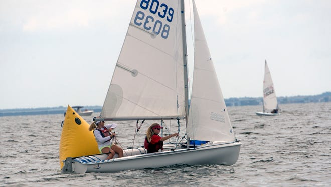 Sailors test their skills in Pensacola Bay during the Junior Olympic Sailing Festival Sunday, July 1, 2018.
