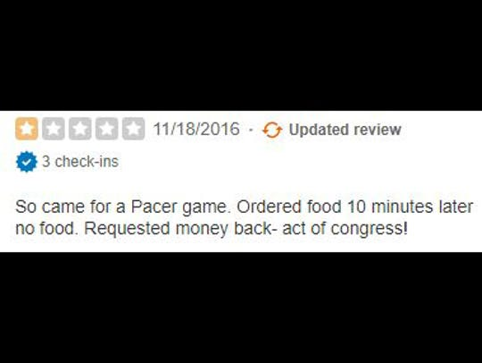 Yelp review of Bankers Life Fieldhouse.