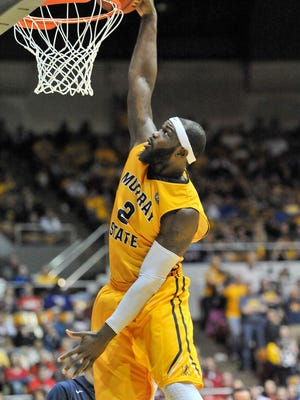 Mar 7, 2015; Nashville, TN, USA; Murray State Racers forward Jonathan Fairell (2) dunks the ball to take the lead during the first half against the Belmont Bruins at Nashville Municipal Auditorium. Mandatory Credit: Jim Brown-USA TODAY Sports