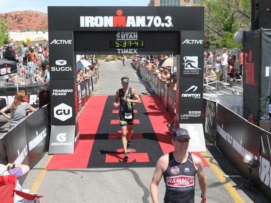 Erik Sorenson crosses the finish line in the 2015 race