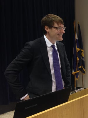Greg Upton Jr., an assistant professor at Louisiana State University's Center for Energy Studies, speaks Wednesday during the Central Louisiana Chamber of Commerce's April Strategic Luncheon.
