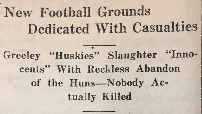 The headline from The Poudre Valley newspaper (now the Windsor Beacon) after Windsor High School's first football game, played in 1918.