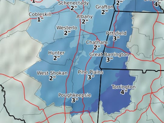 Expected snowfall on Saturday, Dec. 9, 2017, as projected