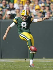 Green Bay Packers' Justin Vogel (8) punts against the