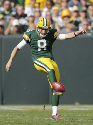Green Bay Packers' Justin Vogel (8) punts against the Seattle Seahawks Sunday, September 10, 2017, at Lambeau Field in Green Bay, Wis.  Dan Powers/USA TODAY NETWORK-Wisconsin