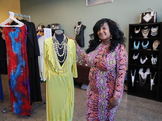 Tanya Bell of Bella's Treasures, one of two pop-up businesses located in the former Outpost Foods building at 1617 W. North Ave.