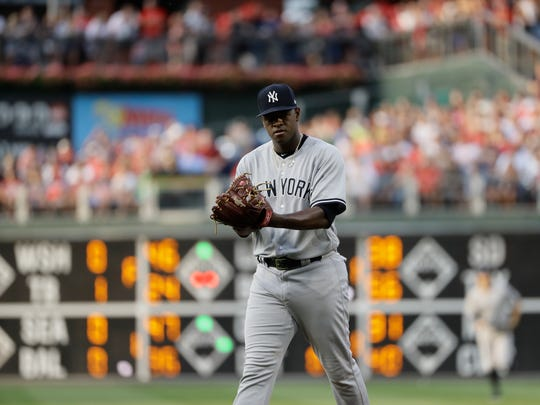 New York Yankees' Luis Severino in action during a