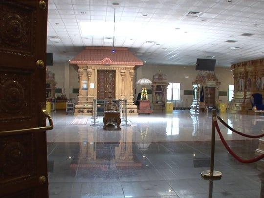 Interior of the Sri Guruvaayoorappan Temple in Marlboro.