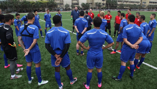 In this Oct. 2015 photo, the Matao gather before their training session during a training camp in Chinese Taipei. The Matao lost 2-0 to DPR Korea at the EAFF-E1 semifinals in Hong Kong on Wednesday.