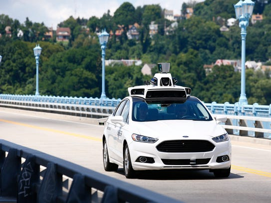 A self-driving Ford Fusion being tested in Pittsburgh.