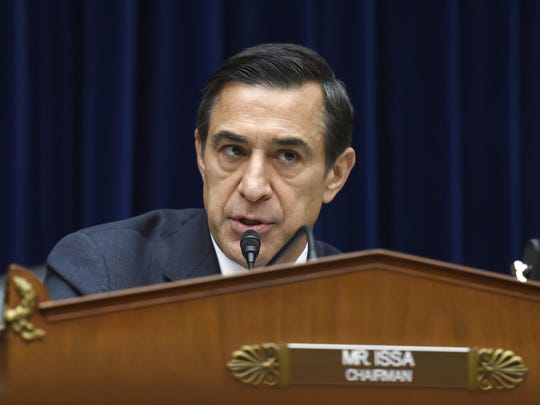 In this Dec. 9, 2014 file photo, Rep. Darrell Issa, R-Calif. speaks on Capitol Hill in Washington.  Issa says he will not seek re-election after serving out his ninth term in Congress. Issa's decision continues a string of GOP lawmakers who have decided to retire rather than take on what would be a difficult re-election battle. (AP Photo/Molly Riley, File)