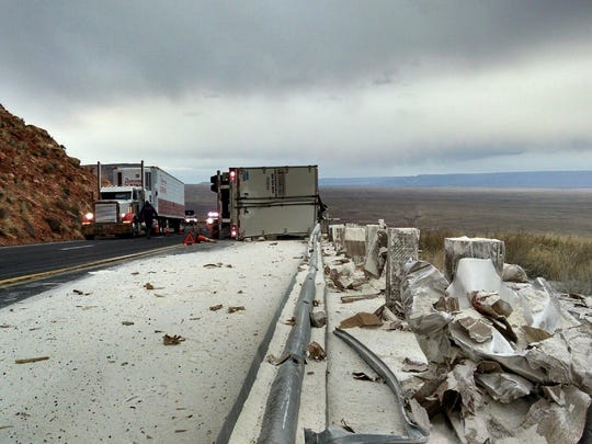 A semitruck crashed on U.S. 89 Thursday, spilling 45,000 pounds of pizza dough and flour.