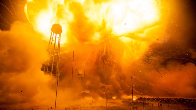 Mid-Atlantic Regional Spaceport Pad 0A is seen after the Orbital ATK Antares rocket, with Cygnus spacecraft onboard, suffered a catastrophic anomaly moments after launch on Tuesday, Oct. 28, 2014, at NASA's Wallops Flight Facility in Virginia.