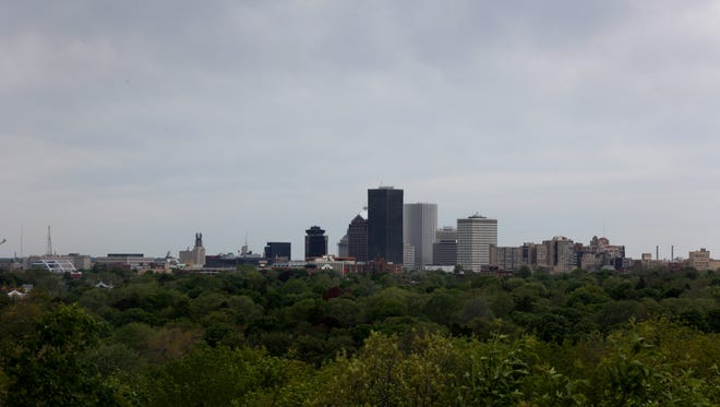 The Rochester skyline photographed from Cobbs Hill.