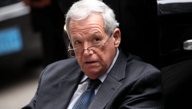 Former House Speaker Dennis Hastert leaves the Dirksen Federal Court House in a wheelchair after his sentencing on April 27, 2016 in Chicago.