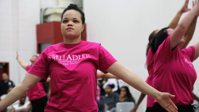 Jennifer Wansley, an inmate on Rikers Island in New York, performs in a show that mixes dance and poetry in a jail gym. The performance was the culmination of months of work by the inmates and teachers from the Stella Adler Studio of Acting.